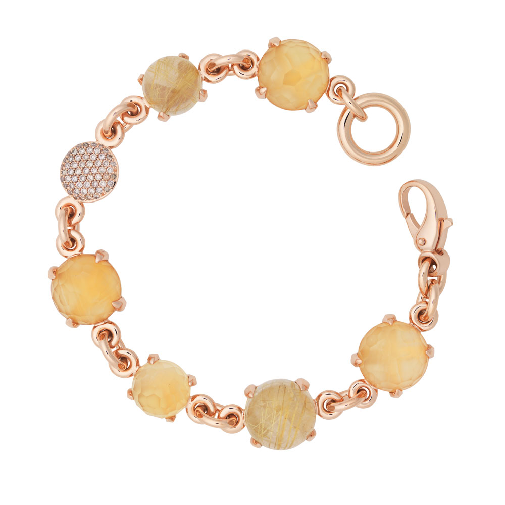 Catch armband met rutielkwarts, citrien en diamant