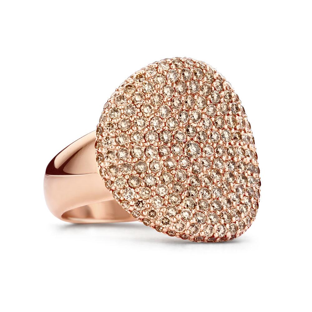 Wave ring rosé goud met champagne diamant